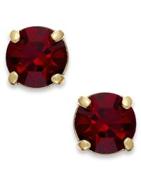 kate spade new york | Red New York Gold-tone Ruby Glass Stone Stud Earrings | Lyst