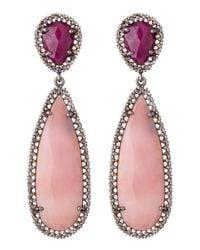 Bavna | Pink Opal Ruby Teardrop Earrings | Lyst