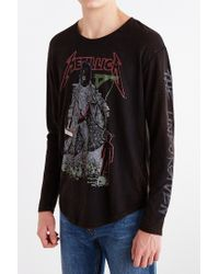 Urban Outfitters - Black Metallica Curved Hem Long-Sleeve Tee for Men - Lyst