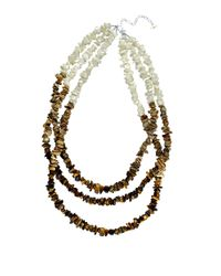 Lord & Taylor | Brown Mother-Of-Pearl And Tiger Eye Three-Row Necklace | Lyst