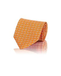 Ferragamo | Orange Men's Dog-profile-print Twill Necktie for Men | Lyst