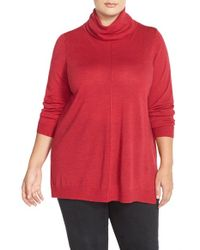 Eileen Fisher | Red Fine Merino Jersey Turtleneck Sweater | Lyst