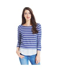 Maison Jules - Blue Striped Layered Top - Lyst
