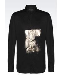 Emporio Armani | Black Shirt In Chintzed Cotton Satin for Men | Lyst