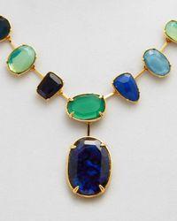 """Ralph Lauren - Green Lauren Stone Collar Necklace, 20"""" - Lyst"""