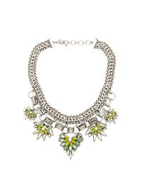 BCBGMAXAZRIA | Green Floral Stone Chain Necklace | Lyst
