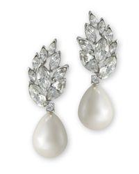 Kenneth Jay Lane   Metallic Pearl Teardrop Pierced Earring   Lyst