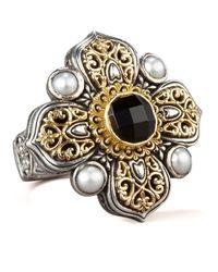 Konstantino - Metallic Onyx Pearl Cross Ring - Lyst