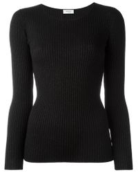 Akris - Black Fitted Ribbed Sweater - Lyst