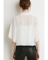 Forever 21 | White Self-tie Neck Cropped Blouse | Lyst