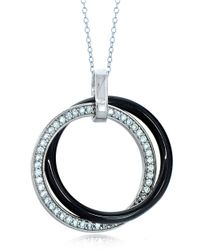 Lord & Taylor | Ceramic Gem Faux Diamond And Black Ceramic Interlocking Pendant Necklace | Lyst