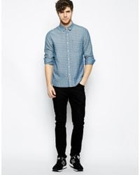 e0a34035a6 Men s Blue Skinny Denim Shirt With Cross Print In Rinse Wash And Long Sleeve
