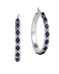 Lucky Brand | Metallic Lapis Stone Hoop Earrings | Lyst