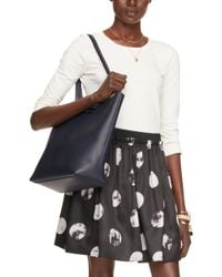 kate spade new york - On Purpose Blue Leather Tote - Lyst