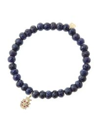 Sydney Evan | Blue 6Mm Faceted Sapphire Beaded Bracelet With 14K Gold/Diamond Medium Ladybug Charm (Made To Order) | Lyst