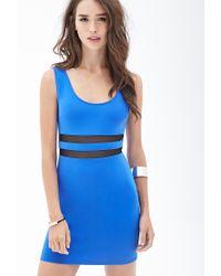Forever 21 | Blue Mesh Scuba Knit Dress | Lyst