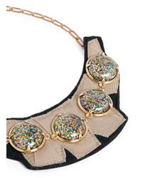 Lulu Frost | Multicolor 'audrey' Glitter Dome Grosgrain Bib Necklace | Lyst