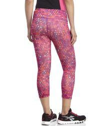 Reebok - Pink Dot Print Athletic Capri Pants - Lyst