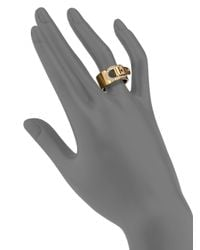 Michael Kors | Metallic Cityscape Hardware Pavé Buckle Band Ring/Goldtone | Lyst