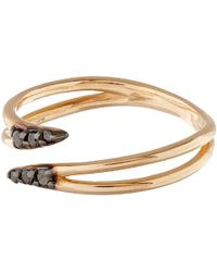 Kismet by Milka | Rose Gold Lumiere Pinky Ring With Black Diamonds | Lyst