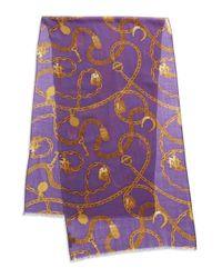 Lauren by Ralph Lauren | Purple Equestrian-print Wool Scarf | Lyst