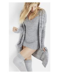 Express | Gray Long Marled Two Pocket Cover-up | Lyst
