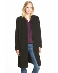 Halogen - Black Faux Fur Knit Topper - Lyst