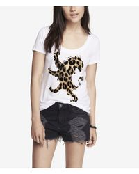 Express - White Scoop Neck Graphic Tee Leopard Lion - Lyst