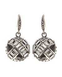 Fragments - Metallic Woven Crystal Orbit Earrings - Lyst