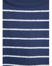 Mango - Blue Cotton Linen-blend T-shirt - Lyst