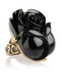 Oscar de la Renta | Black Goldplated Resin Rose Ring | Lyst