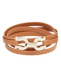 Ferragamo | Brown Quadruple Wrap Double Gancini Bracelet | Lyst
