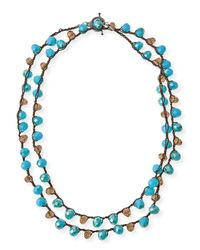 An Old Soul - Blue Pacific & Smoke Crystal Long Necklace - Lyst