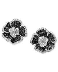 Macy's | Black Sterling Silver Earrings, Onyx And Diamond Accent Flower | Lyst