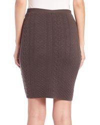 Josie Natori - Gray Textured Knit Pencil Skirt - Lyst