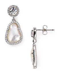 Nadri | Metallic Sterling Silver And Mother Of Pearl Drop Earrings | Lyst