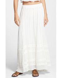 Billabong - White 'festival Sol' Cotton Maxi Skirt - Lyst