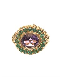 Jade Jagger | Multicolor Amethyst, Emerald & Gold-Plated Ring | Lyst
