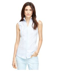 Brooks Brothers | Blue Stripe Cotton Sleeveless Shirt | Lyst