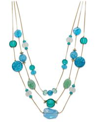 Style & Co. | Style&co. Gold-tone Blue Green Three Row Illusion Necklace | Lyst