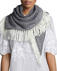 Isabel Marant - Black Herringbone Knit Blanket Scarf - Lyst