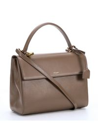 Saint Laurent - Brown Taupe Leather Medium 'Moujik' Convertible Top Handle Bag - Lyst