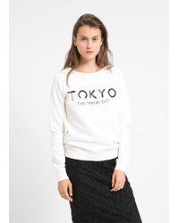 Mango - White Sequin Sweatshirt - Lyst
