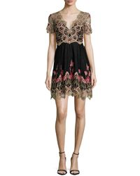 Notte by Marchesa | Black Short-sleeve Embroidered Tulle Cocktail Dress | Lyst