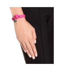 Bottega Veneta - Pink Knot Woven Leather Bracelet - Lyst