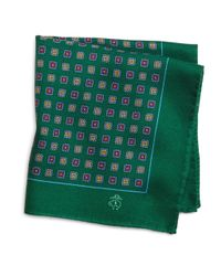 Brooks Brothers | Green Brushed Medallion Pocket Square for Men | Lyst