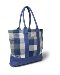 The Elder Statesman | Blue Leather-Trimmed Checked Cashmere Tote Bag for Men | Lyst