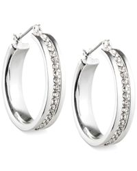 Nine West | Metallic Silver-tone Crystal Hoop Earrings | Lyst