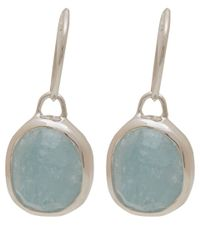 Monica Vinader | Green Silver Aquamarine Siren Wire Earrings | Lyst