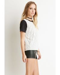 Forever 21 - Black Striped Colorblock-sleeve Tee - Lyst